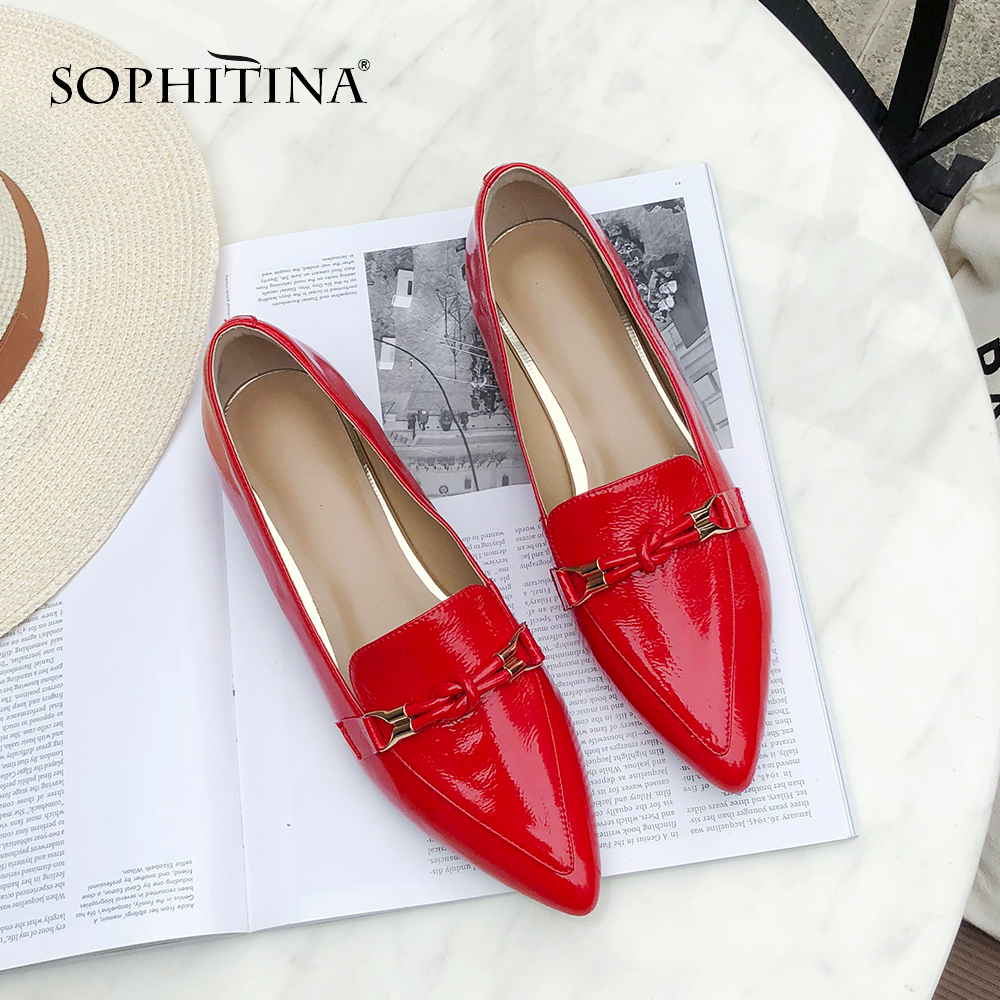 SOPHITINA Sexy Pointed Toe Women s Pumps Fashion Patent Leather Slip on Casual Spring Shoes Comfortable