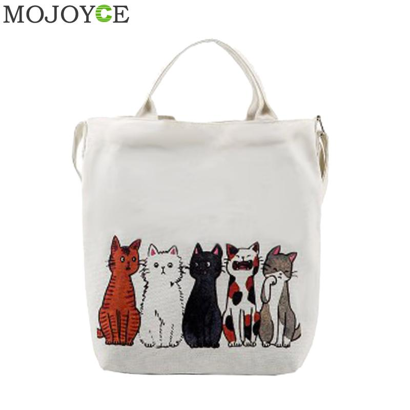 Leisure Women Shoulder Bag Cute Cats Printed Handbag Canvas Shopping Bag Female Large Capacity Shoulder Bags Women Messenger Bag