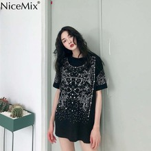 NiceMix Harajuku Long T Shirt Women Tops Short Sleeve T-shirt Star Sequined Female Plus Size Boyfriend Style Tee