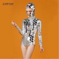 Модная Серебряная головка шт зеркальные костюмы сценическая танцевальная одежда наряд вечерние женщины певица танцор бар представление с