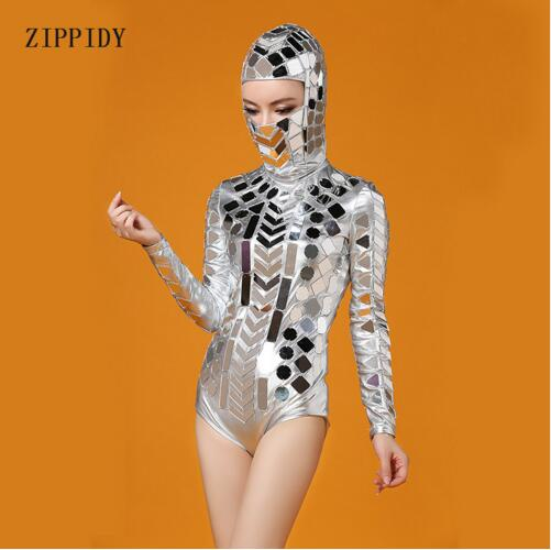 Fashion Silver Head Piece Mirrors Costume Stage Dance Wear Outfit Party Women Singer Dancer Bar Performance Sexy Leotard