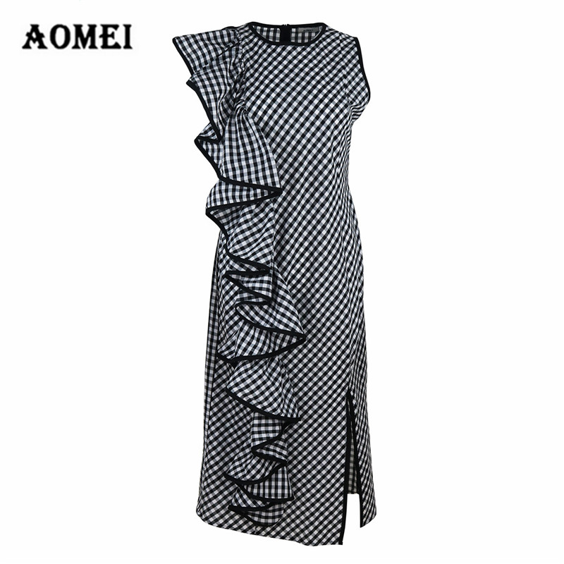 67ef676bf4 Retro Gingham Slit Dress for Women Ruffled Office Lady Work Wear Checkered Tunics  Robes Femme Classy
