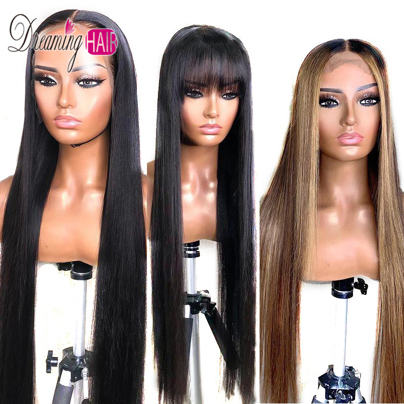 Highlight 13x6 Deep Part 1B 27 Ombre Honey Blonde  Brazilian Straight Hair Lace Front Human Hair Wigs Pre Plucked With Baby Hair