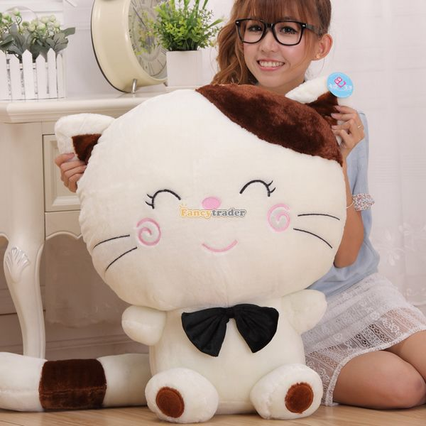Fancytrader 27'' / 70cm Giant Lovely Stuffed Soft Plush Big Face Cat Toy, Nice Gift for Kids, Nice Gfit, Free Shipping FT50125 fancytrader 2015 new 31 80cm giant stuffed plush lavender purple hippo toy nice gift for kids free shipping ft50367