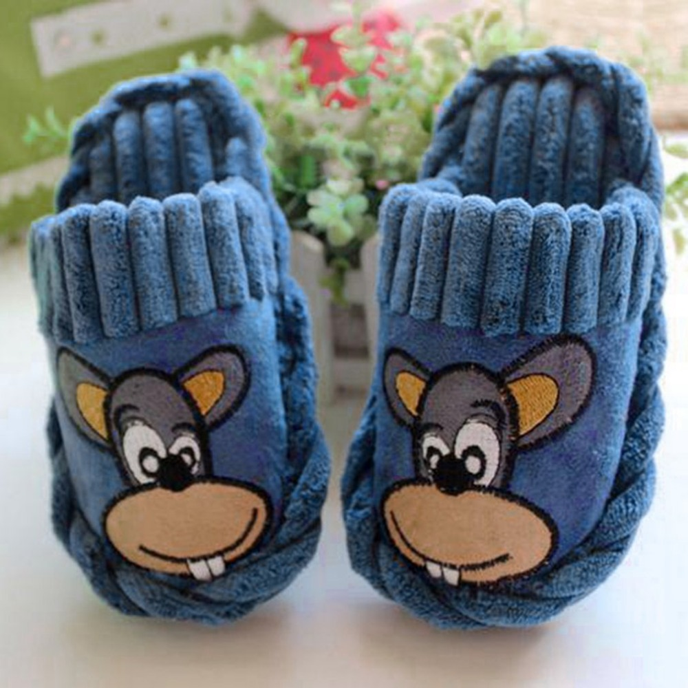 Children Cartoon Lovely Home Cotton Plush Slippers Soft Sole Warm IndoorFloor Flat Shoes with Big-mouth Mouse Pattern soft plush big feet pattern novelty slippers