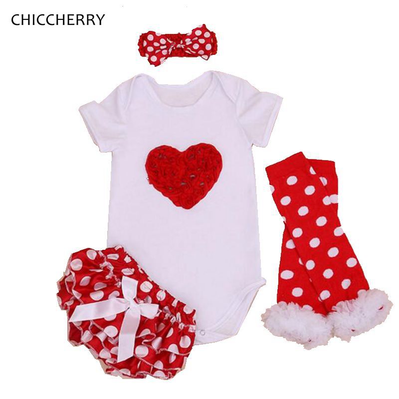 Red Heart Valentine Gift Infant Lace Bodysuit + Polka Dots Bloomer Set Body Bebe Menina Toddler Jumpsuits Baby Girl Clothes