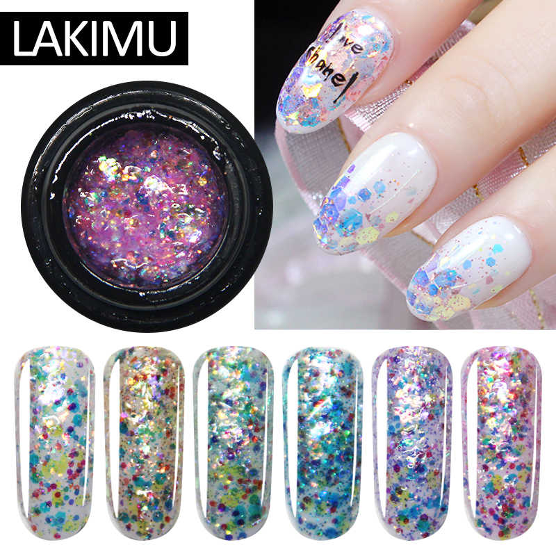 LAKIMU 5ml Diamond Gel Nail Polish Sequins UV Gel Nail Glitter Soak Off Hybrid Varnishes Semi Permanent Polygel Nail Art Primer