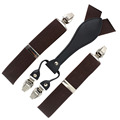 MBD8415 New Men 3.5 cm Adjustable 4 Clip-on black suspenders braces with Gift Box For Father/Grandfather