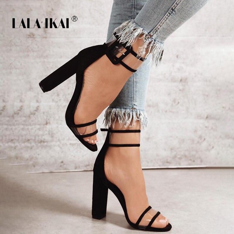 Summer Shoes Pump Clear-Strap Lala Ikai Woman Sandals Metallic High-Heels Transparent