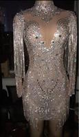 2019 Sparkly Crystals Chains Mesh Perspective Dress Evening Party Dresses Evening Celebrate Dress Singer Performance YOUDU