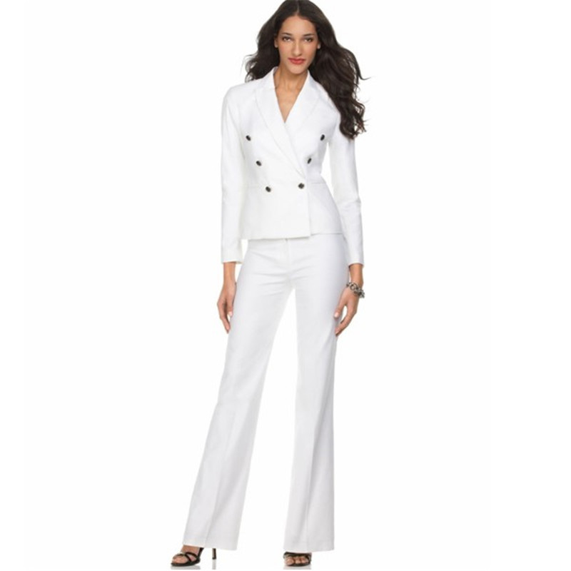 New Female Elegant Pant Suits OL Formal Work Womens Business Suits Long Sleeve Double Breasted ...