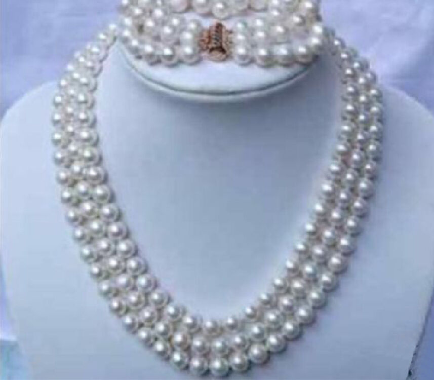 shipping3 row natural Akoya white Pearl Necklace 17-19 inch bracelet yellow plated Clasp