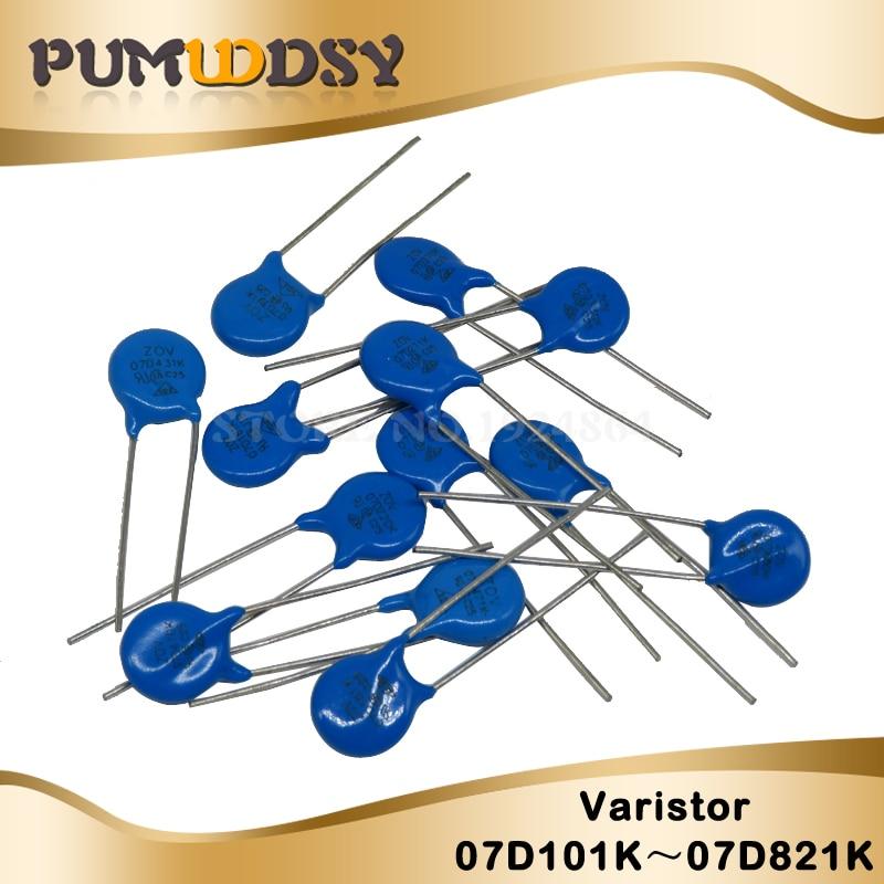 20PCS Piezoresistor  Varistor Series 7D 10D 14D 7D151K 7D220K 10D101K 10D330K 14D471K 14D220K 7D431K 10D621K 10D561K Resistor
