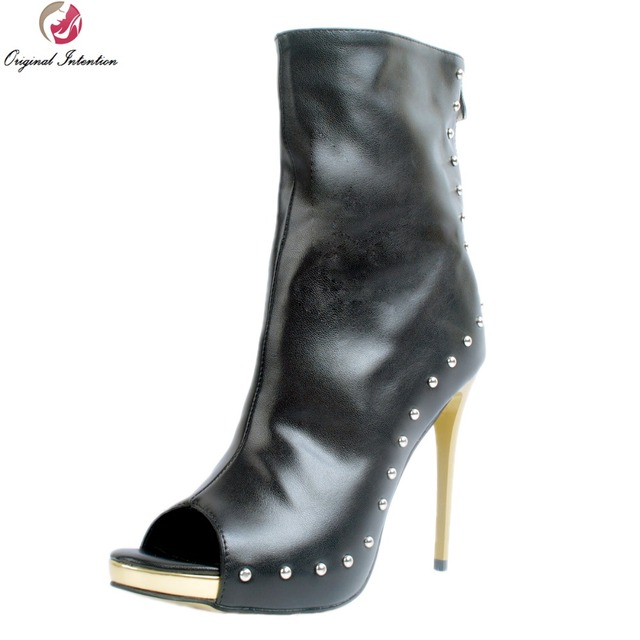 50f774cf9e2 Original Intention Sexy Women Ankle Boots Fashion Rivets Peep Toe Thin Heels  Boots Beautiful Black Shoes Woman Plus US Size 4-15