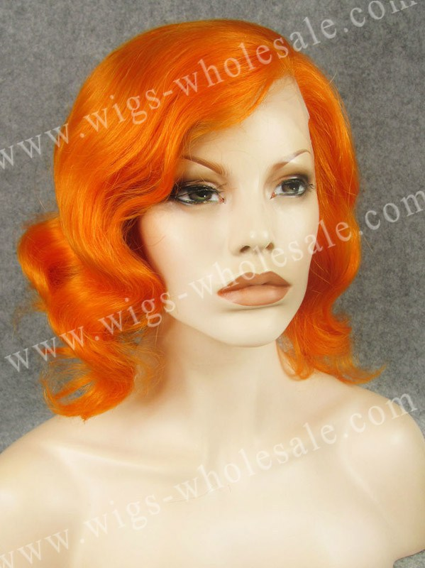 ФОТО synthetic  lace front wigs with bangs thick short curly orange wig free shipping