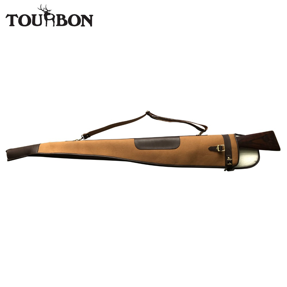 Tourbon Vintage Shotgun Case Canvas Gun Slip Padded Protection Bag Holder Carrier with Zipper Hunting Gun Accessories 134CM tourbon tactical universal gun case hunting gun storage rifle shotgun carrier with lock gun accessories
