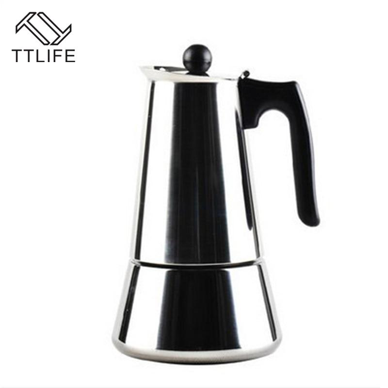 TTLIFE Stainless Steel Moka Coffee Maker Espresso Latte Stovetop Filter Coffee Pot Mocha Coffee ...