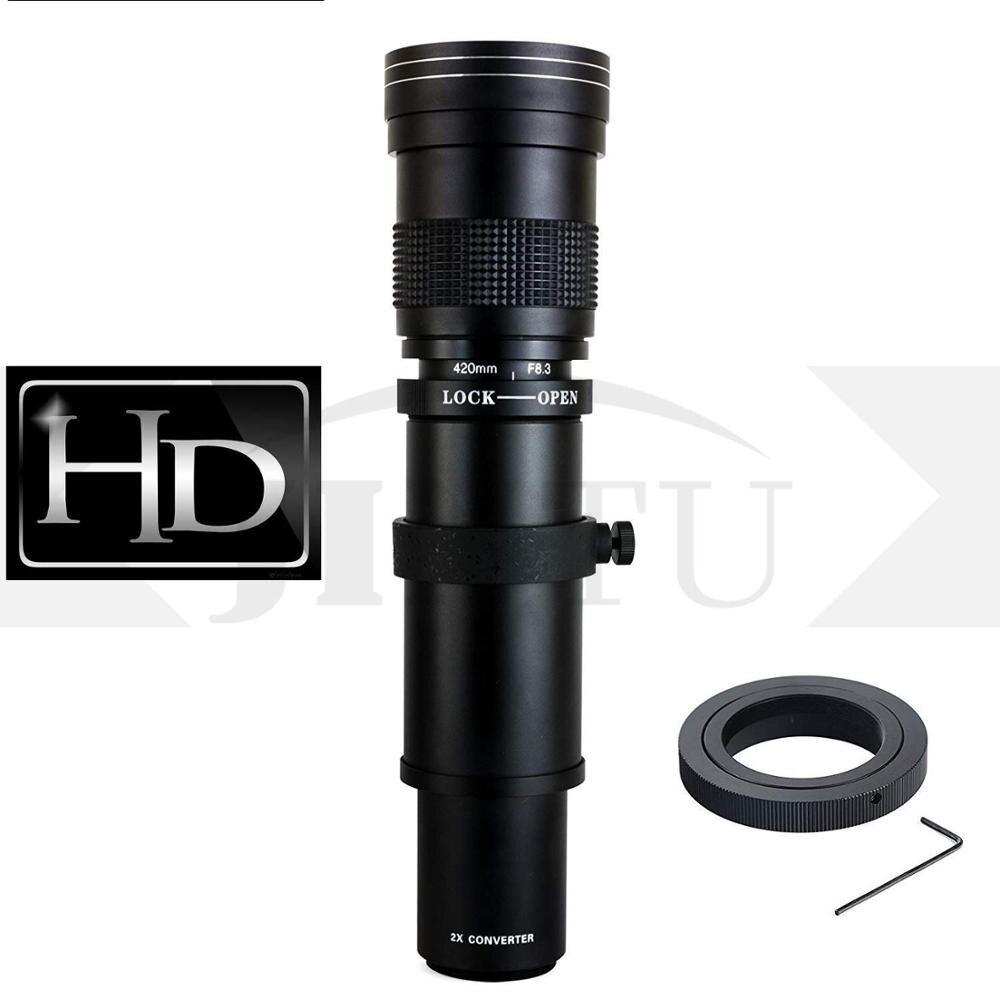 JINTU 420-800mm PRO II f/8.3-F16 téléobjectif manuel pour Canon T6i T6s T7i SL2 60D 70D 80D 5D III IV 6D 7D II reflex numérique