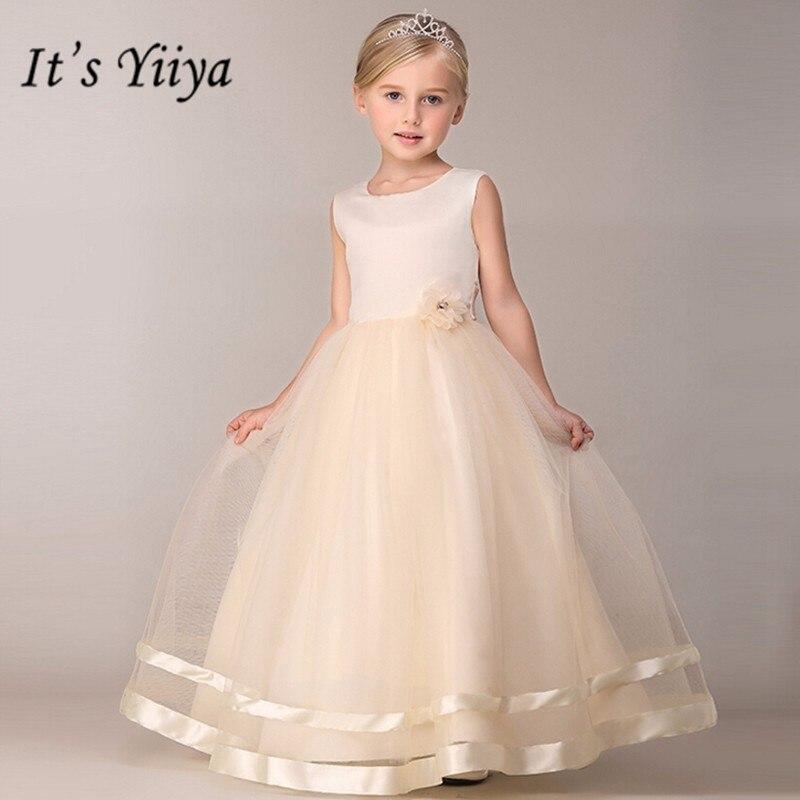 É yiiya vestidos da menina da flor 8 cores sem mangas o pescoço até o chão meninas vestidos pageant de noches para ninas b815
