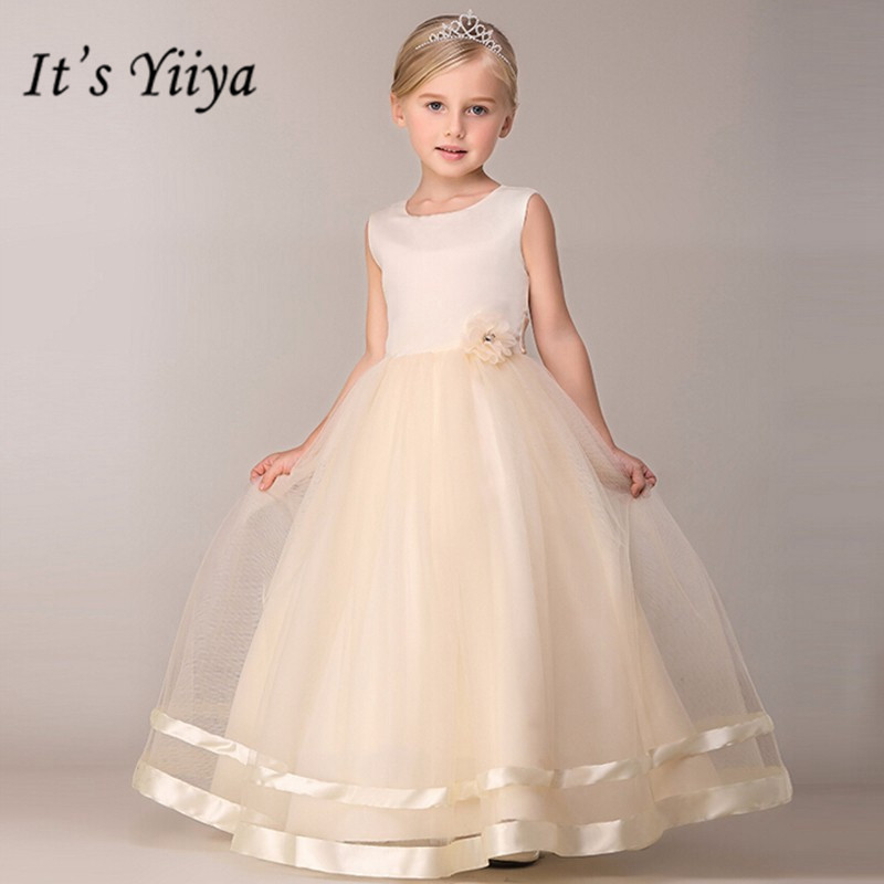 It's YiiYa Flower Girl Dresses 8 Colors Sleeveless O-Neck Floor Length Girls Pageant Dresses Vestidos De Noches Para Ninas B815
