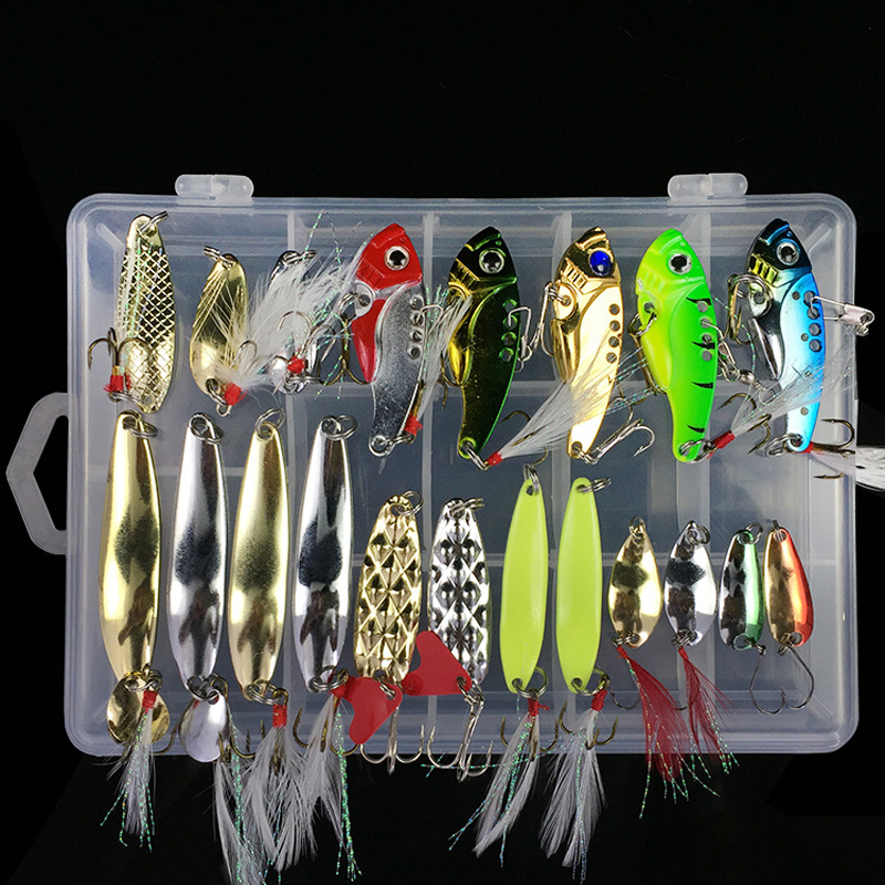 Mixed Colors Fishing Lures Spoon Bait Metal Lure Kit artificial Hard Bait Fresh Water Bass Pike Bait Fishing Geer ootdty 57mm bass fishing lures crank bait tackle swim bait fishing hard fish lure apr20 17