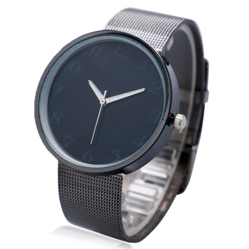 Simple Fashion Wrist Watch Men quartz watch Women Unique Black Dial Quartz Mesh Stainless Steel Band