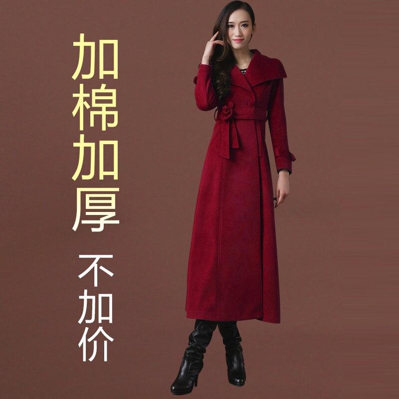 Новое осенне-зимнее шерстяное пальто ультра длинное дизайнерское утепленное шерстяное Женское пальто женское Шерстяное Пальто Верхняя одежда - Цвет: has cotton pad 07