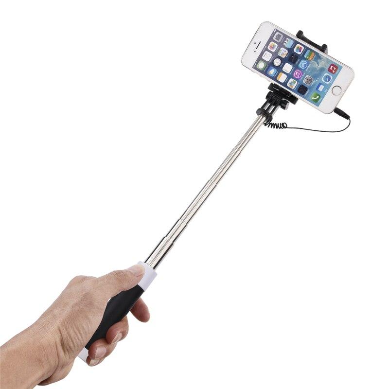 3,5mm Jack Verdrahtete Steuer Handy Selfie Stick Einbeinstativ Mit Füllen Licht Spiegel Rück Einstellbare Mini Selfie Stange 15 -57 Cm