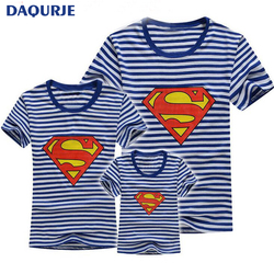Family look summer cartoon spongebob short sleeve navy striped tshirt matching clothes family for mother daughter.jpg 250x250