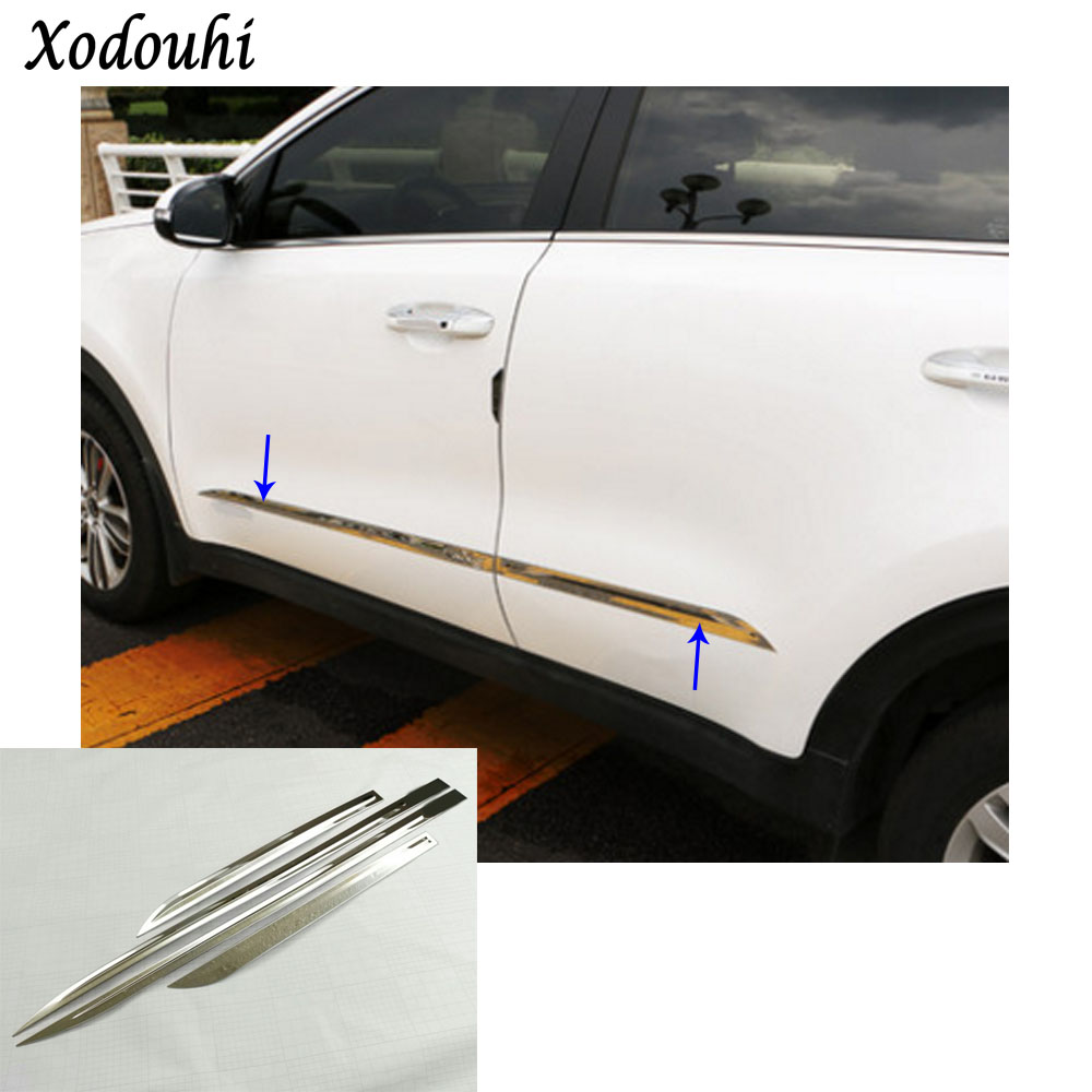 Free shipping car detector stainless steel Side Door Body trim stick Strip Molding part 4pcs for Kia Sportage KX5 2016 2017 2018