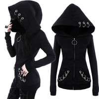 Jacket Coat Size Cotton Long Sleeve Women Style Black Solid Color Hooded Sweat Hoodies Blends Punk 2018 Ladies