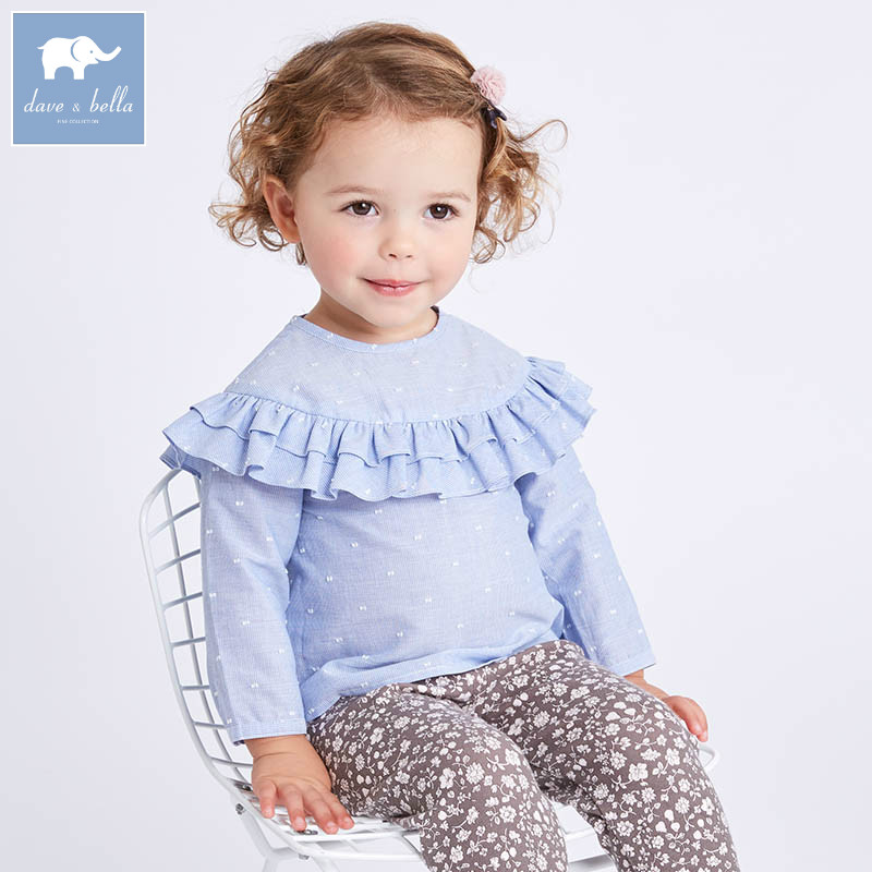 DBA6626 dave bella spring baby girls blue striped shirt kids cotton sweet tops children high quality blouses ватрушки sweet baby тюбинг sweet baby glider 105 silver blue