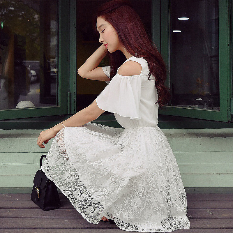 Dabuwawa Women s Summer New Fashion Elegant Bow O Neck Lace White Dress D17BDR203