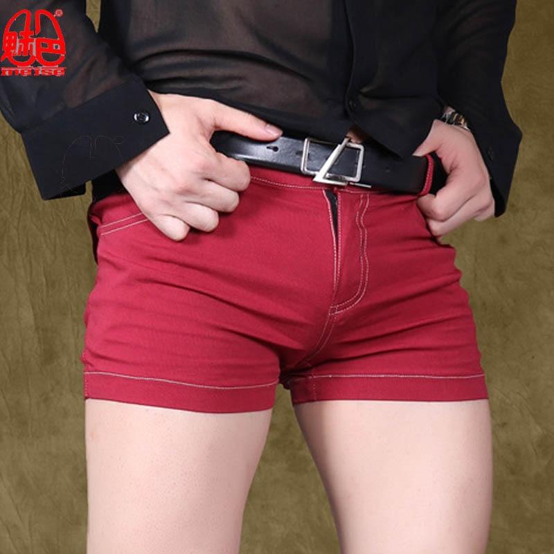 Sexy Men's Casual Hot Shorts Flat Leg   Jeans   Leggings Tights Four Feet Pants Small Straight Feet Nightclub Gay Wear K84