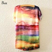 BLACK Brand New Fashion Women Summer T-shirt Female Casual Bat Sleeve Tees Women Loose Dusk Coastline Landscape Print
