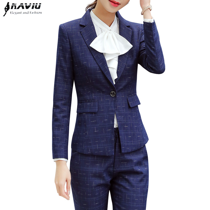2019 Spring fashion high quality pants suits professional Business Interview plus size long sleeve blazer and