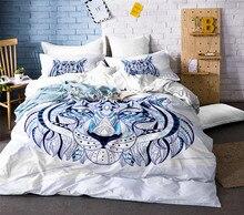 3D Animal Duvet Cover King/Queen Size Tiger White Cotton Blend Hot Sale Bed Bedding Sets 3PCS