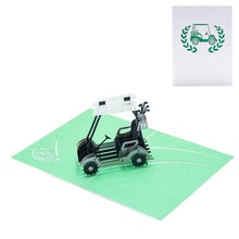 Golf Cart 3D Pop Up Greeting Card Handmade Birthday Wedding Invitation Navidad Craft Art Christmas Gifts
