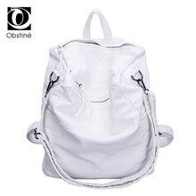 حقيبة ظهر نسائية كبيرة مضادة للسرقة للسفر بسحّاب أبيض ناعم من جلد البولي يوريثان حقيبة ظهر ضد السرقة للإناث