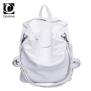 Image 1 - Anti Theft Backpack Women Casual Large Anti theft Backpacks for Travel White Zipper Soft PU Leather Antitheft Backpack Female