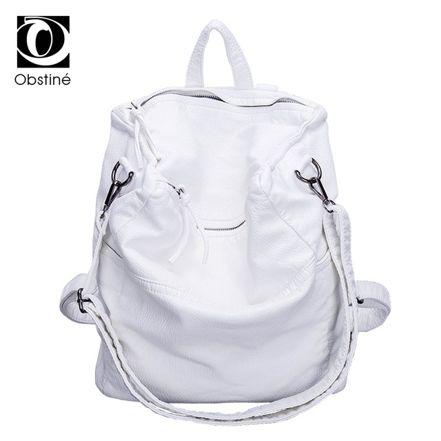 Anti Theft Backpack Women Casual Large Anti theft Backpacks for Travel White Zipper Soft PU Leather Antitheft Backpack Female