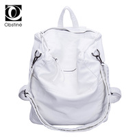 Soft PU Leather Anti Theft Backpack Women Solid Casual Travel Backpacks Female White Zipper Rucksack Bags Large Shoulder Bag