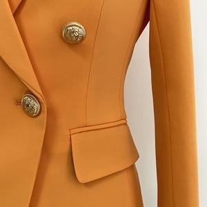 Image 5 - Женский двубортный Блейзер на пуговицах, оранжевый облегающий блейзер в стиле барокко, 2020