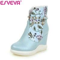 ESVEVA 2016 Printing Leather Autumn Women Shoes Elegant Ladies Wedges High Heel Ankle Boots Women Fashion