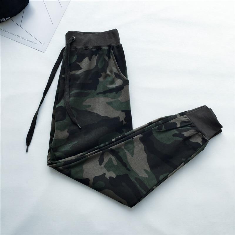NEW Summer Camouflage Pants Women Drawstring Waist Sweatpants Long Trousers Women Pantalon Femme Streetwear Harem Pants C4275
