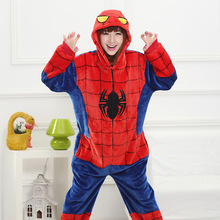 Mother Father Daughter Boy Dresses Family Matching Sleepwear Hooded Pajama Cartoon Animal Red Spiderman Cosplay Pyjama Pijamas