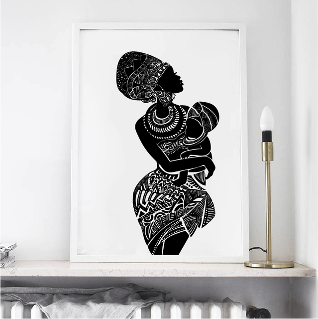 painting of african mother holding baby