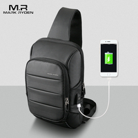 MarkRyden2018 New Sling Bag For Men USB Charging Shoulder Bag Water Resistant Chest Pack Large Capacity