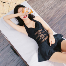 Sexy Black mesh Push Up Pleated skirt one piece swimsuit 2018 new Cross straps women swimwear Asian Beach women bathing suits summer hot new push up print skirt style flat pants one piece swimsuit sexy halter swimwear beach holiday women bathing suits