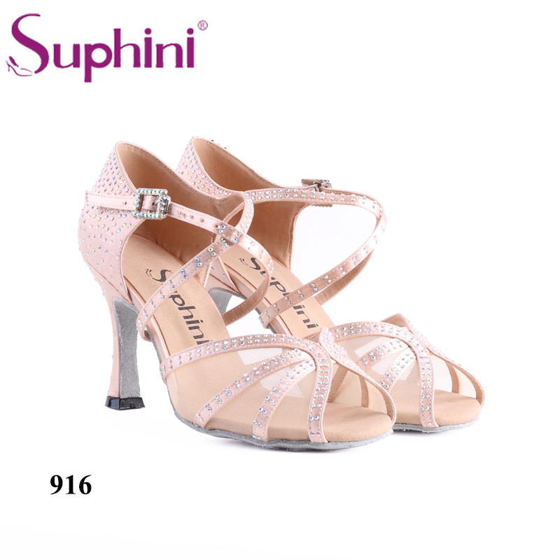 Free Shipping Suphini Comfotable Mesh insert Dance Shoes Ladies Lovely Pink Latin Dance Shoes mesh insert applique shirt